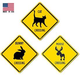 アニマル CROSSING メタルサイン CAT BUNNY MOSSE 35cm×35cm 米国製 ■ キャット ネコ バニー ウサギ ムース シカ ガレージ 店舗 ブリキ看板