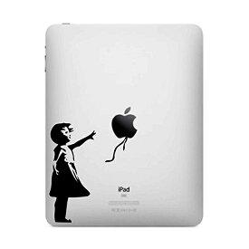 ステッカー 風船と少女 バンクシーのウォールアート風 iPad用 切り抜き デカール ブラック 約10cm×約6cm ■ アート Apple アップル アイパッド