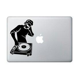 ステッカー DJ シルエット 切り抜き デカール ブラック 約18.5cm×約12cm ■ Macbook マックブック Apple アップル ミュージック