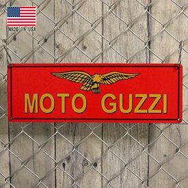 MOTO GUZZI モト・グッツィ メタルサイン 15.5cm×46cm アメリカ製 ■ ブリキ看板 インテリア オートバイ バイク イタリア