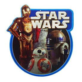 """高さ約32.5cm """"Star Wars(スターウォーズ) C-3PO、R2-D2、BB-8"""" エンボス ダイカットメタルサイン(ティンサイン)【壁掛け インテリア フォース ブリキ看板】"""