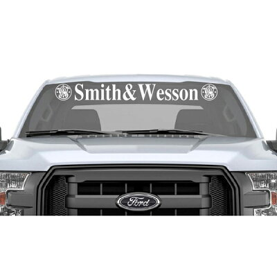 【S&W】スミス&ウェッソンウィンドウシールドステッカー(幅99cm)ホワイト【カーステッカーデカールミリタリー】