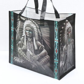 ネイティブアメリカン トートバッグ ■ ショッピング エコバッグ プリント 戦士 パイプ 族長 オオカミ ウルフ 動物