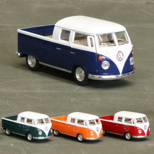 【フォルクスワーゲン】【ミニカー】1963 ワーゲンバス ダブルキャブ ピックアップ スケール1/34 プルバック 【volkswagen】 (KT5387D)