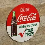 【ブリキ看板】ENJOYCOCACOLA直径30cm【コカコーラインテリア雑貨ガレージおしゃれ】