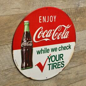 【ブリキ看板】ENJOY COCA COLA 直径30cm【コカコーラ インテリア雑貨 ガレージ おしゃれ】