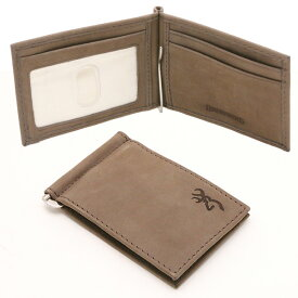 【Browning】ブローニング マネークリップ付き 二つ折り ウォレット パスケース メンズ レザー(本革) ブラウン 【アパレル 財布 カード入れ】