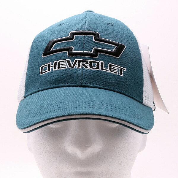 【帽子・キャップ】【シボレー】 刺繍ロゴ メッシュキャップ メンズ フリーサイズ ブルー×ホワイト シボレーオフィシャル 【CHEVROLET CHEVY】