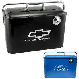 【シボレー フォード】 【クーラーボックス】CHEVY FORD ロゴ入り 5ガロン クーラー ブラック ブルー【保冷 栓抜き付き】