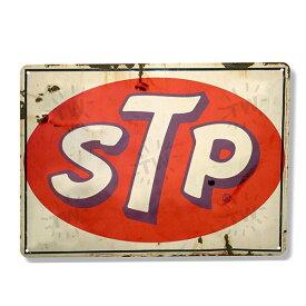 【ブリキ看板】STP ロゴ ビンテージ 看板 27.3cm×20.6cm【インテリア 雑貨 壁掛け 四角 ガレージ】
