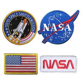 ワッペン NASA スペースシャトル 星条旗 パッチ 4種セット ■ アメリカ コスプレ ハロウィン ハロウィーン 雑貨