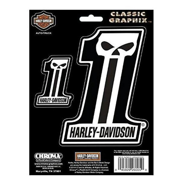 【ハーレーダビッドソン】【ステッカー】スカル #1 デカール2種サイズセット 【Harley Davidson 雑貨 シール バイク】