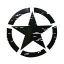 【ビッグサイズ ステッカー】ジープスター ブラック 米陸軍 ボディーデカール 直径51cm【JEEP 車 カー用品 ミリタリー】