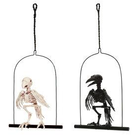 フィギュア スケルトン オウム カラス とまり木付き ■ ハロウィン ハロウィーン 鳥 骨 置物 フィギュア ディスプレイ