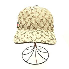 【中古】【メンズ】【レディース】GUCCI グッチ GGキャンバスベースボールキャップ シェリーライン 200035 帽子 サイズ:XL(60cm) カラー:ベージュ ブラウン 茶 緑 赤 レッド  万代Net店