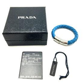 【中古】【箱あり】PRADA プラダ レザー編み込みブレスレット 1IB144 アクセサリー サイズ:L カラー:ブルー 青 シルバー 万代Net店