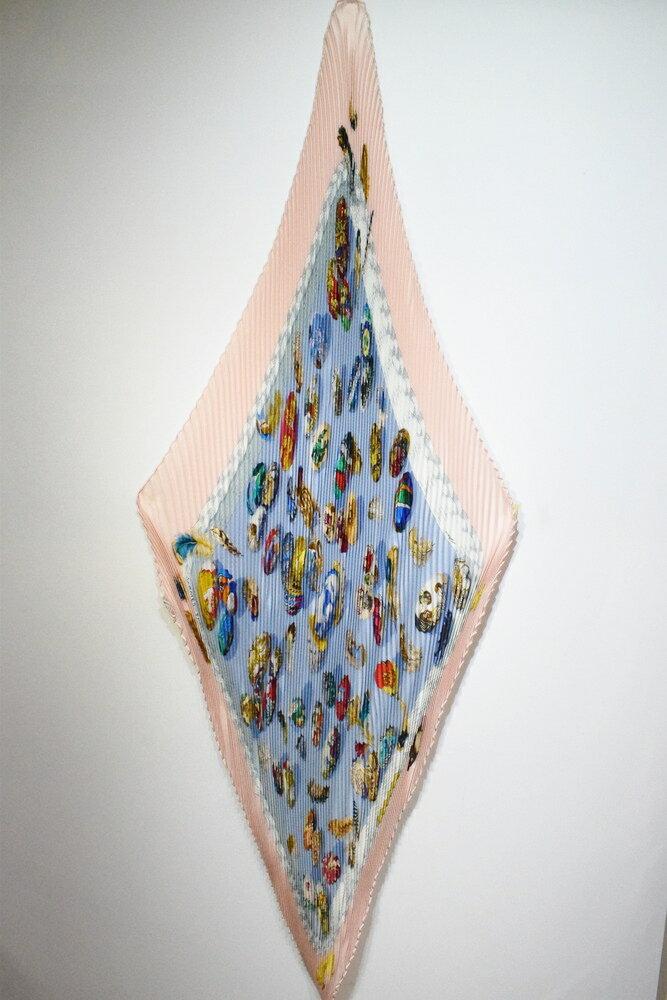 【中古】HERMES エルメス プリーツスカーフ フランス感 ピンク ブルー