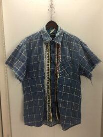 【中古】【メンズ】SONIC LAB RIBBON SHIRT リメイクシャツ NEPENTHES ソニックラブ ネぺンテス 半袖シャツ サイズ:M カラー:BLUE