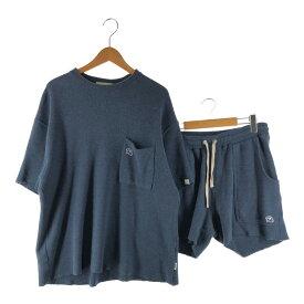 【中古】【メンズ】Re:room WAFFLE SET UP REC-196 REP-042 リルーム ワッフル セットアップ 半袖Tシャツ ハーフパンツ ショートパンツ ボトムス サイズ:F/M カラー:ブルー 万代Net店