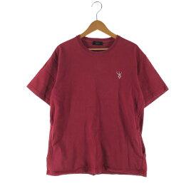【中古】【メンズ】UNDERCOVER 15SS 鹿 刺繍 度詰 天竺 BIG TEE アンダーカバー ビッグ Tシャツ 半袖Tシャツ サイズ:2 カラー:レッド 万代Net店