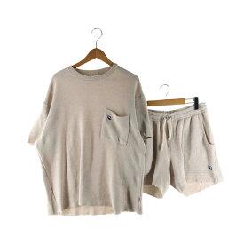 【中古】【メンズ】Re:room WAFFLE SET UP REC-196 REP-042 リルーム ワッフル セットアップ 半袖Tシャツ ハーフパンツ ショートパンツ ボトムス サイズ:F/M カラー:アイボリー 万代Net店