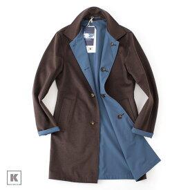 KIRED 【キーレッド】 カシミヤ リバーシブルコート ・mod. PEAK ・art. 68180 ・col. dark brown × smoky blue (ダークブラウン×スモーキーブルー) 【秋冬】