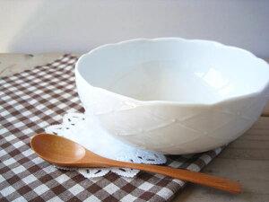 【ホワイトレリーフ ボウル 20cm】 (1600cc) ◎アウトレット / サラダボウル 大鉢 煮物鉢 大きい おしゃれ かわいい