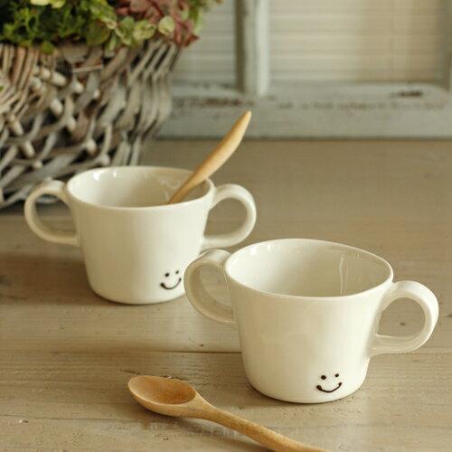 人気のたたらシリーズ【にこ_両手マグ_S】(N-12)白い食器,カフェ食器,マグカップ,コーヒーカップ,スープマグ,コーヒーマグ陶磁器,コップ,子供用食器,業務用食器