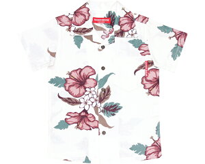 かりゆしウェア 沖縄アロハ アロハシャツ MANGO HOUSE マンゴハウス 国産 リゾート 結婚式 キッズシャツ ジャガードハイビー 90cm〜110cm