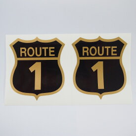お好きな国道で作ります! 数字表記自由選択 最大3ケタ『ルート ステッカー』ゴールド ヘルメット スクリーン 2枚セット オーダー製 オリジナル デカール おもしろ/ワンポイント