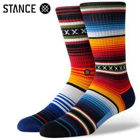 STANCE SOCKS スタンスソックス メンズ靴下 CURREN ST CREW - Red - Mix Match ミックスマッチ スケーターソックス ハイソックス メンズソックス 【あす楽対応】