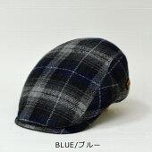 ハンチング帽子メンズ【Herman】ウール混紡ハンチングチェック柄ハンチング秋冬