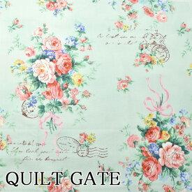 [A]キルトゲイト 生地 スケア レタースタンプフラワー Cグリーン 10cm RU-2390-11 Ruru Bouquet ルルブーケ QUILT GATE キルトゲイト