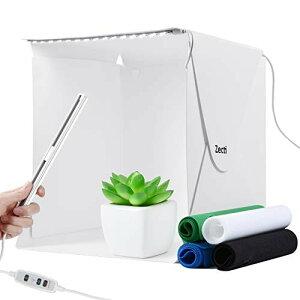 撮影ボックス Zecti 簡易スタジオ 撮影キット 撮影ブース 33×30×31cm 折りたたみ式 LEDライト付き 明るさを調整可能 4色背景布 マジックテープで組み立て 小物撮影 メルカリ フリマアプリで