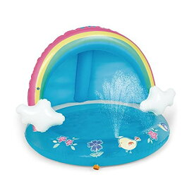 HIWENA ベビー プール レインボー スプラッシュ プール キャノピースプラッシュプール 40インチ 付き水 スプリンクラー 子供 ブルー
