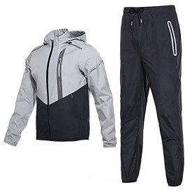 FF.C (厳選品 前開きタイプ) サウナスーツ メンズ フード付き 脂肪燃焼 発汗 運動スーツ トップス 下着 上下セット 選択可能 (ブラック&シルバーL)