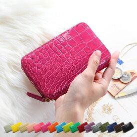 本革 ミニ財布 レディース ポケット ウォレット クロコダイル HCP 全10色 かわいい ゴールド 金具 小さめ コンパクト財布 折り財布