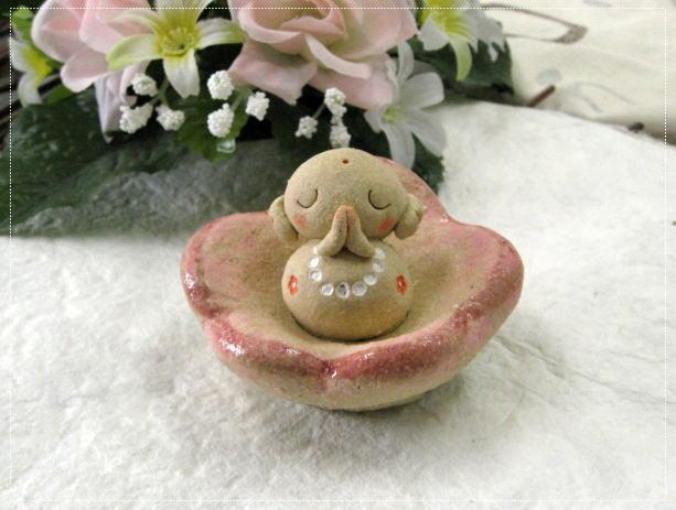 花びら地蔵 手作り信楽焼きのお地蔵様[陶器置物]