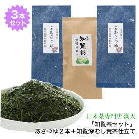 人気品種「知覧茶セット」あさつゆ2P+知覧深むし荒茶仕立て知覧茶こだわりセット 鹿児島茶 かごしま茶 ちらん茶 日本茶 緑茶 茶葉 メール便で送料無料