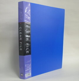 ● A4クリアファイル40P ブルー☆【万天プラザ 100円ショップ+雑貨】