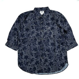 PHERROWS 20S-P7BD2 フェローズ 総柄 7分袖 BDシャツ コットン リネン 半袖