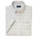 B・D半袖オックスフォードチェクシャツ<綿100%形態安定>3S〜ELL 4色(イエロー)