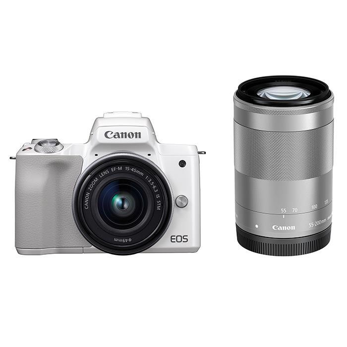《新品》 Canon (キヤノン) EOS Kiss M ダブルズームキット ホワイト【¥10,000-キャッシュバック対象】[ ミラーレス一眼カメラ | デジタル一眼カメラ | デジタルカメラ ]【KK9N0D18P】