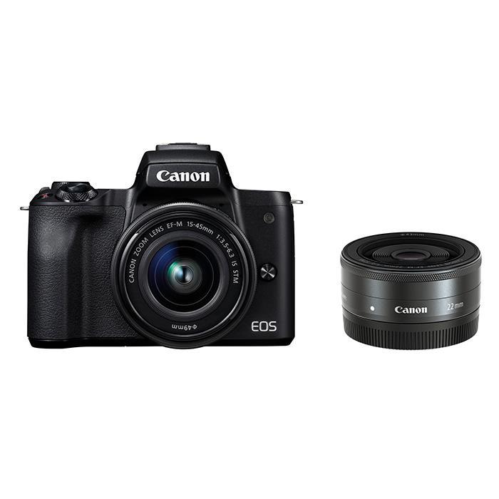 《新品》 Canon (キヤノン) EOS Kiss M ダブルレンズキット ブラック[ ミラーレス一眼カメラ | デジタル一眼カメラ | デジタルカメラ ]【KK9N0D18P】