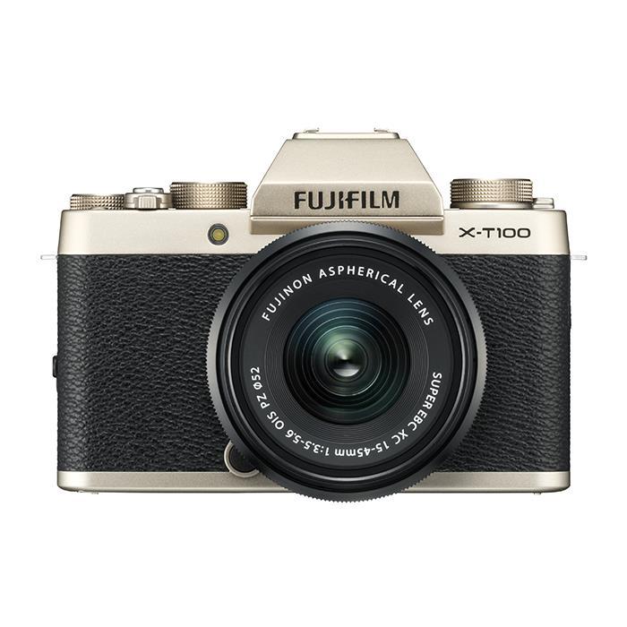 《新品》 FUJIFILM (フジフイルム) X-T100 レンズキット シャンパンゴールド[ ミラーレス一眼カメラ | デジタル一眼カメラ | デジタルカメラ ]【KK9N0D18P】
