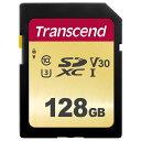《新品アクセサリー》Transcend (トランセンド) SDXCカード 128GB V30 UHS-I U3 (MLC) TS128GSDC500S【KK9N0D18P】