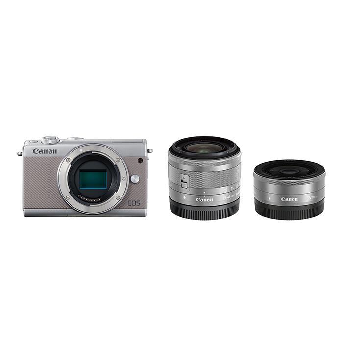 《新品》 Canon (キヤノン) EOS M100 ダブルレンズキット グレー [ ミラーレス一眼カメラ | デジタル一眼カメラ | デジタルカメラ ] 【KK9N0D18P】