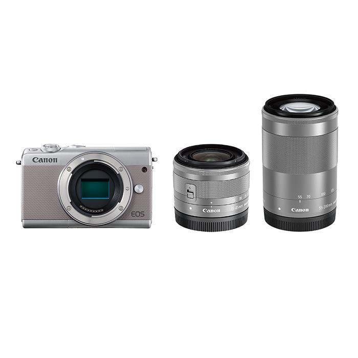 《新品》 Canon (キヤノン) EOS M100 ダブルズームキット グレー [ ミラーレス一眼カメラ   デジタル一眼カメラ   デジタルカメラ ] 【KK9N0D18P】
