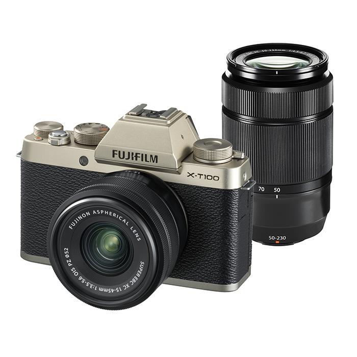 《新品》 FUJIFILM (フジフイルム) X-T100 ダブルレンズキット シャンパンゴールド[ ミラーレス一眼カメラ   デジタル一眼カメラ   デジタルカメラ ] 【KK9N0D18P】