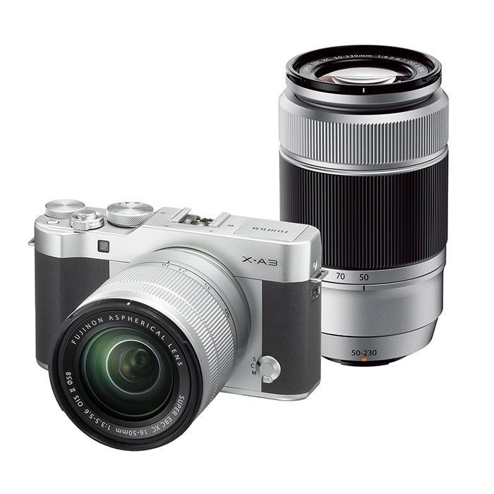 《新品》 FUJIFILM X-A3 (フジフイルム) ダブルズームレンズキット シルバー [ ミラーレス一眼カメラ   デジタル一眼カメラ   デジタルカメラ ] 【KK9N0D18P】【在庫限り(生産完了品)】